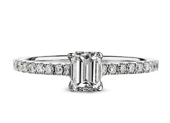 Emerald Cut Diamond Ring with Diamond Shoulders