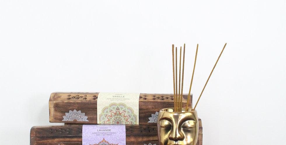 Bâtons d'encens et sa boite en bois
