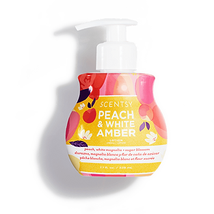Peach and White Amber Scentsy Lotion