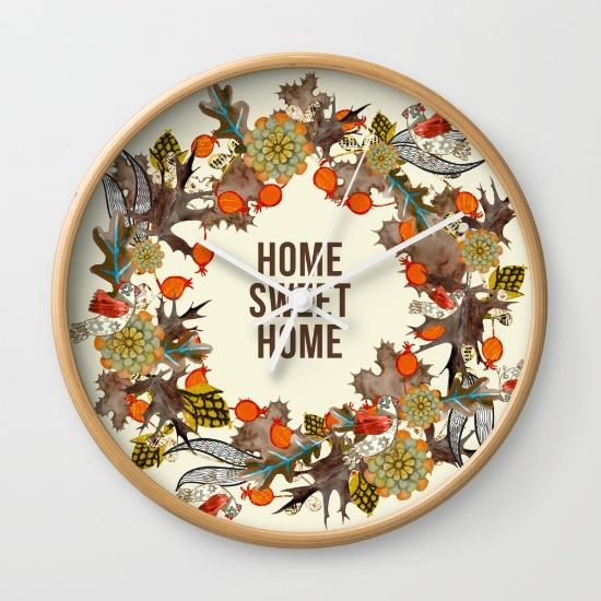 Home Sweet Home clock @ Society6