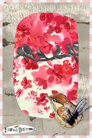 postcard with birds