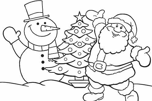 Snowman and Santa Predrawn Canvas