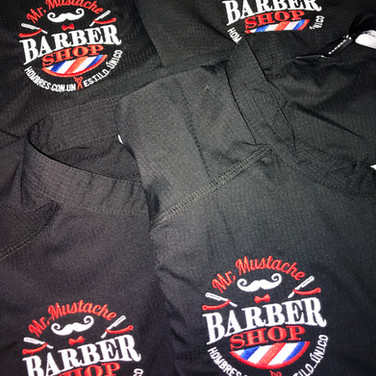 Embroidery on barber uniforms