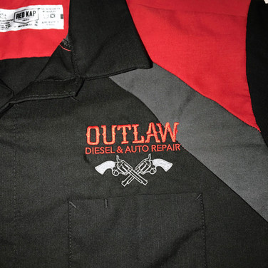 Embroidery on work uniform