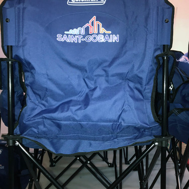 Chair with heat press logo