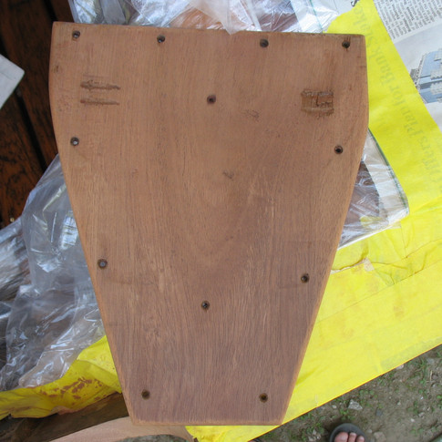 Motor plate ready for stain.