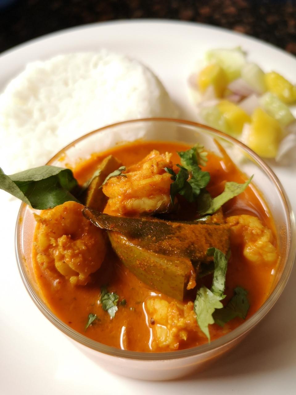 Prawn Mango Curry served with rice and salad