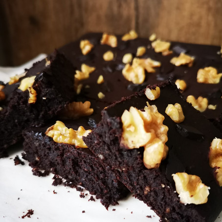 Dark Chocolate Fudgy Coffee-Rum Brownie
