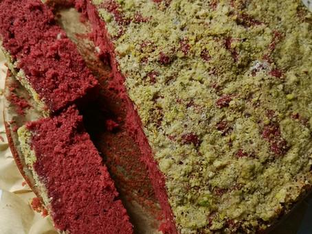 Red Velvet Cake with Hazelnut Pistachio Streusel