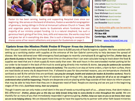 Recycled Lives Newsletter Page 1  4/23/2020