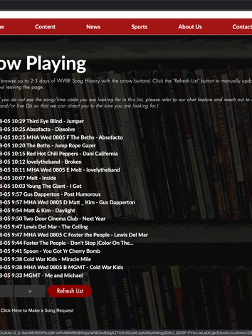 Song History Page - Updated