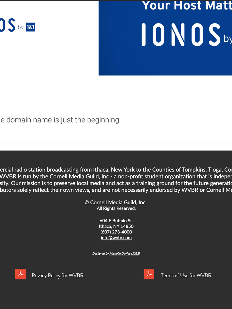Footer of WVBR Website