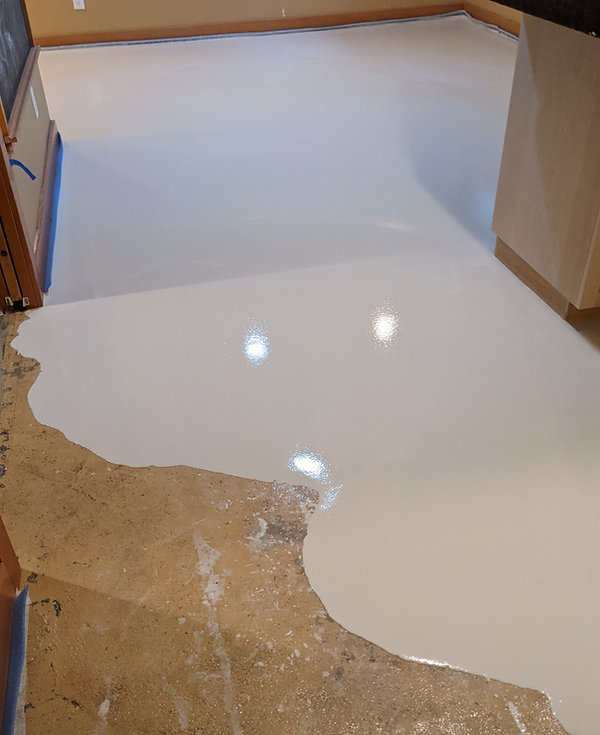Self Leveling Concrete Installing over c