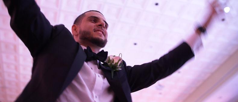 The groom dancing