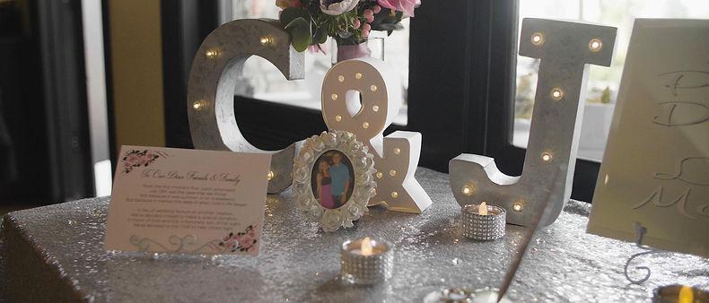Decor details inside the wedding venue