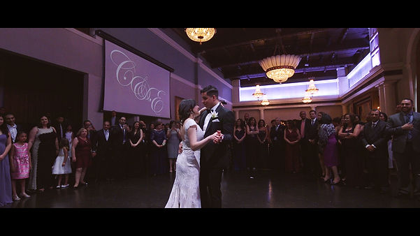 The couple looks in love while dancing their first dance at the Governors' room at Liberty Grand.