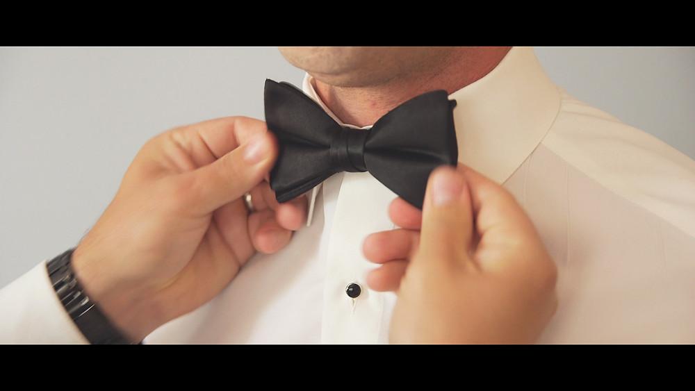The groom's bowtie