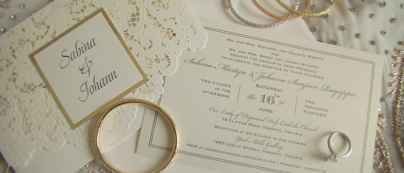 Invitations, bracelets, and the wedding ring.