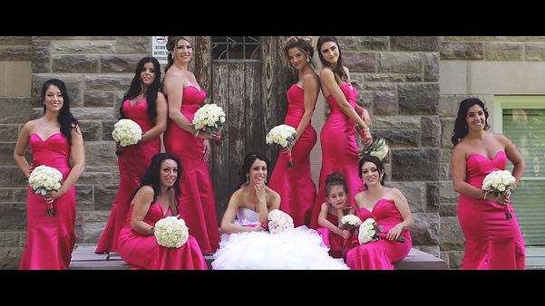 Very bright colours for the briesmaids' dresses during their video session at the University of Western Ontario.