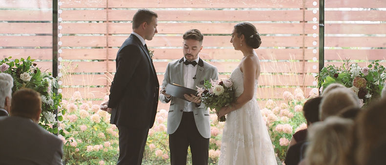 The wedding ceremony was officiated by the couple's friend