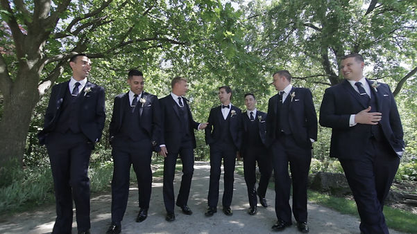 The groomsmen hanging out at the photoshoot at the Humber Arboretum.