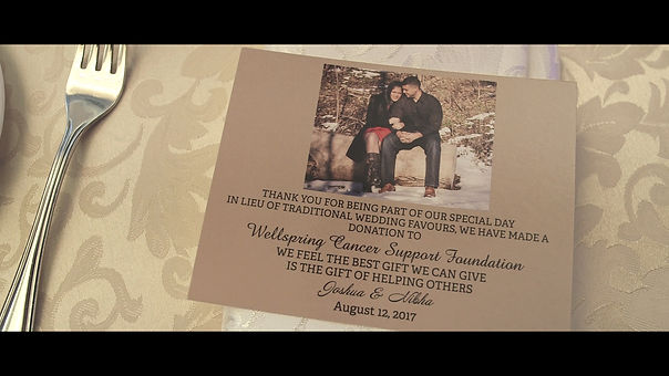The couple decides to donate all wedding favours to the Wellspring Cancer Support Foundation. Such a great gesture.