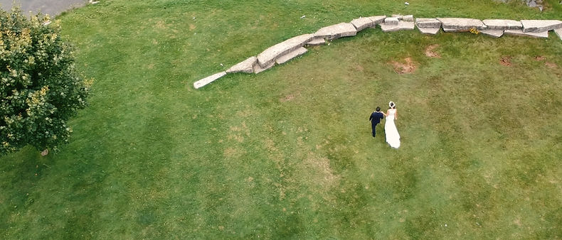 A drone shot of the couple by the lake at Royal Ambassador.