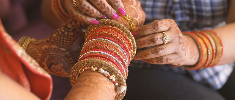Bangles bracelets are part of an Indian hindu wedding tradition