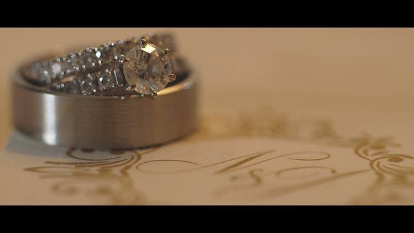 The beautiful wedding rings.