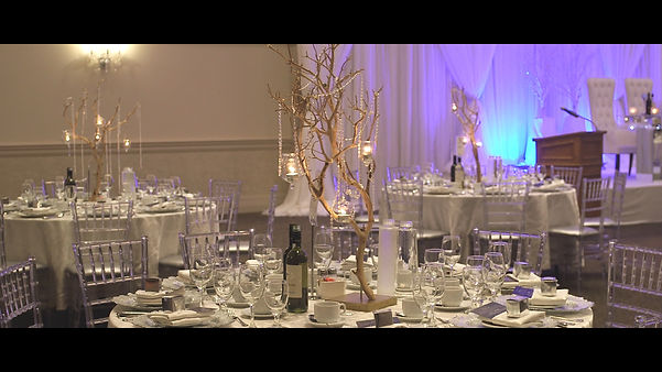 Great centerpiece and decor arrangements for Dianne and Marvin's reception at Brighton Convention Centre.