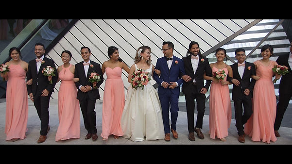 Th beautiful bridal party with pink as their main color during th photshoot at the ROM.