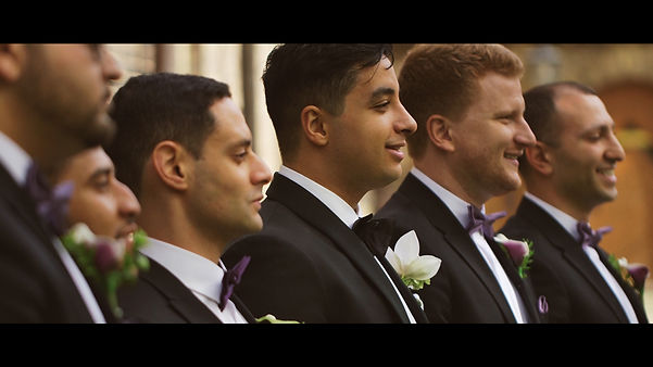 Ebram and his groomsmen pose for a video and a photo at Uoft