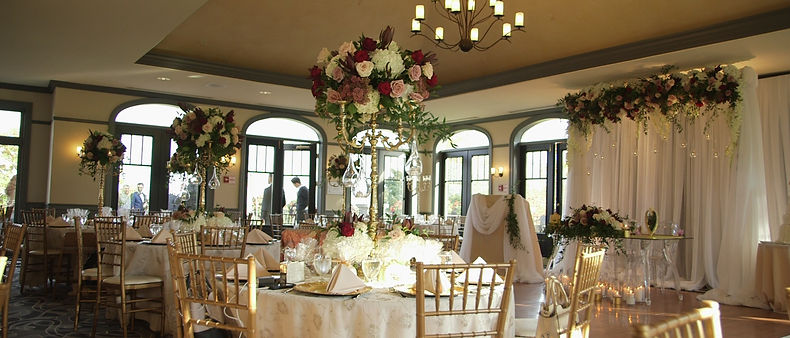 Stunning flower and table decor inside Greystone's reception room