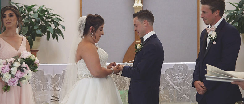 The couple during the ceremony.