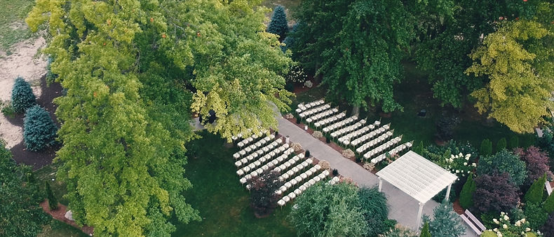 Aerial shot of the outdoor ceremony location at Club Roma.