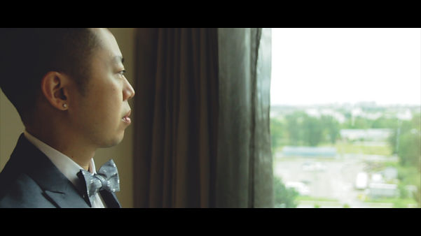 Allan looks calm and composed at his getting ready at the Hilton Toronto Markham Suites.