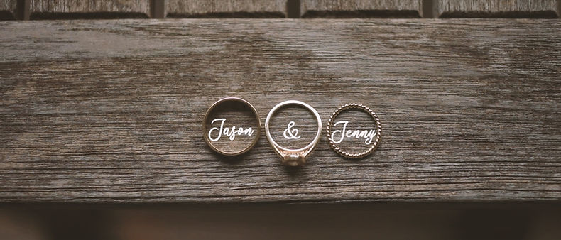 Wedding rings on a table. Shot with a Cinevate slider