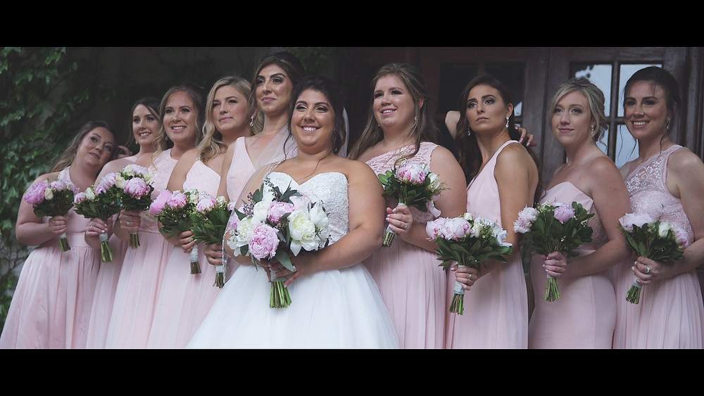 The bridesmaids during the photo and video session