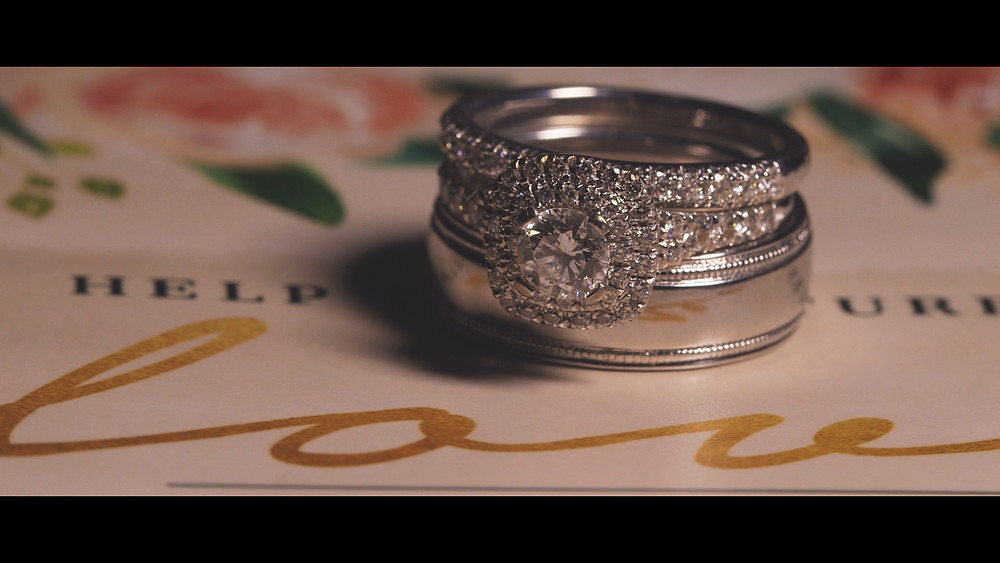 The wedding band and invitation card