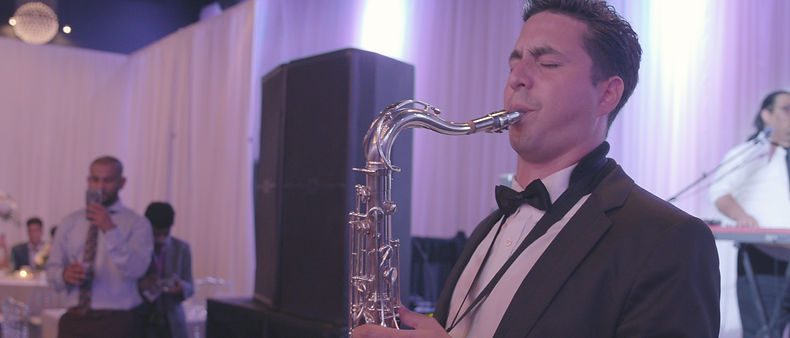 Saxophone player during the reception