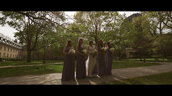 The beautiful bride alongside her bridesmaids.