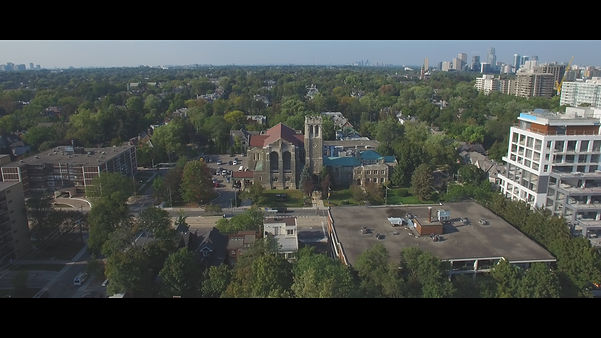 A drone shot from the Timothy Eaton Memorial church, in Toronto.