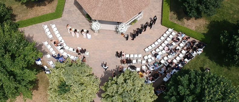 An aerial shot of the Terrace Gazebo at Royal Ambassador during the couple's ceremony. Shot with the DJI Spark.