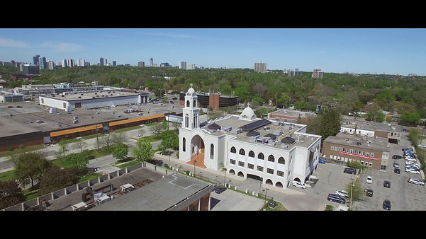 The St. George & St Rueiss Coptic Orthodox Church seen from the sky. Shot taken by the videographer with a Phantom 3 drone.