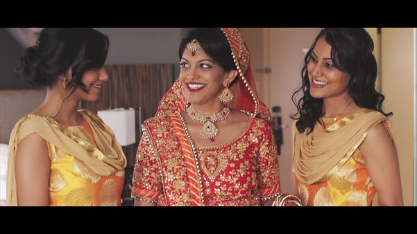 One beautiful bride and two beautiful bridesmaids.