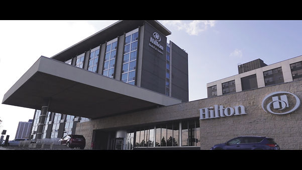 A timelapse shot of the Hilton Airport hotel.