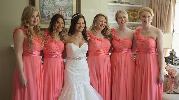 Bridesmaids posing for a photo at Melanie's house in Acton during he getting ready.