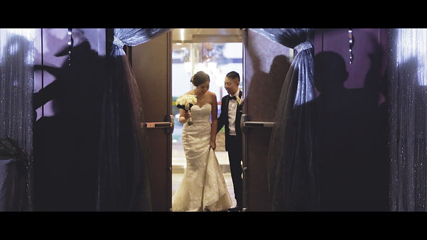 The couple awaits to make their grand entrance at their reception at Shangri-La.