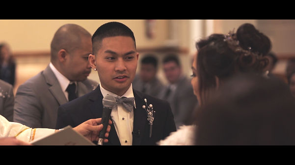 Marvin saying his vows during the couple's ceremony.