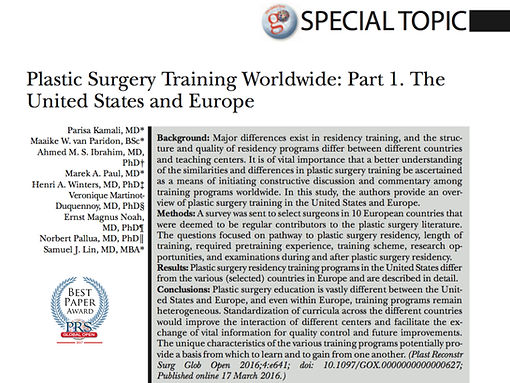 Plastic Surgery Training Worldwide - Best Paper
